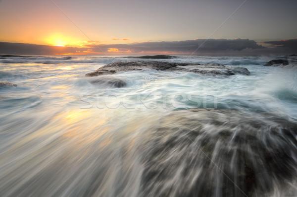 Ocean flowing over rocks Bungan Beach Stock photo © lovleah