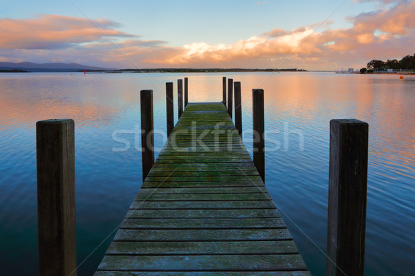 Mossy jetty at sunset Stock photo © lovleah