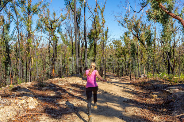 Woman running along dirt trail in forest area Stock photo © lovleah