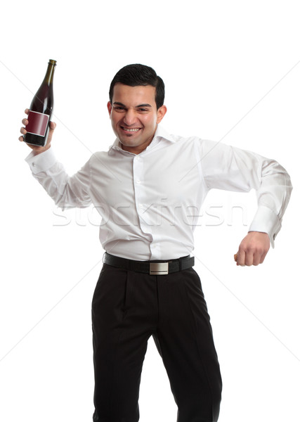 Party goer with wine bottle celebrating Stock photo © lovleah