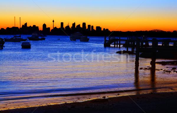 Sydney silhouette plage pointe port pont Photo stock © lovleah