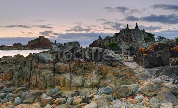 Rotsen mengsel rock zandsteen hier gevolg Stockfoto © lovleah