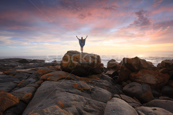 Rocky Landscape and Ocean at Sunrise Stock photo © lovleah