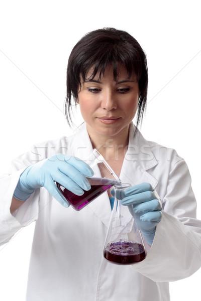 Naukowy eksperyment kobieta ilość chemicznych nauki Zdjęcia stock © lovleah