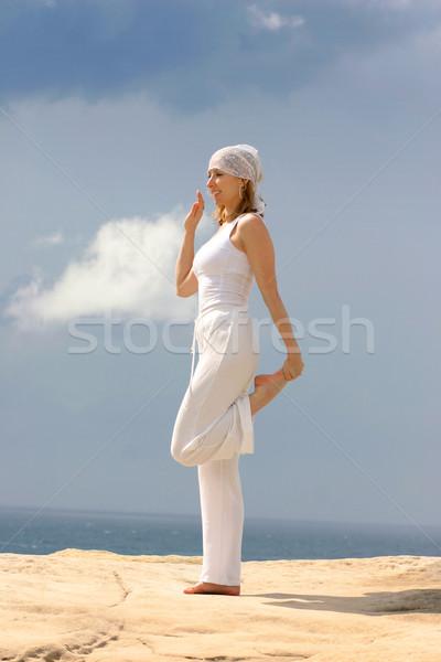 Kadın açık uygunluk gülümseyen kadın kadın spor Stok fotoğraf © lovleah