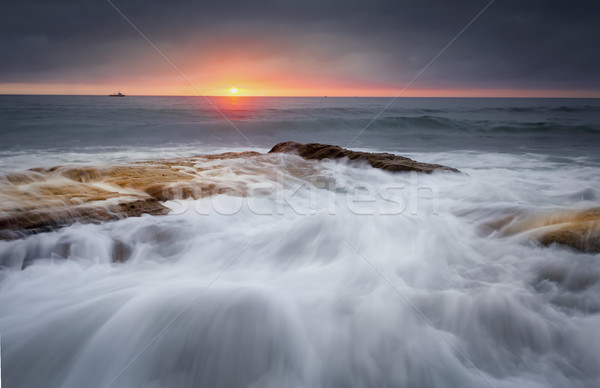 Tidal flows over the rocks at Cronulla beach Stock photo © lovleah