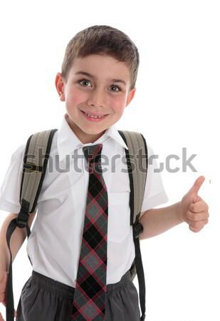 Fiatal iskola gyermek gyönyörű fiatal srác visel Stock fotó © lovleah