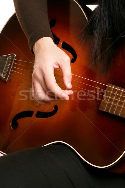 Játszik gitár kezek akusztikus gitár zene kő Stock fotó © lovleah