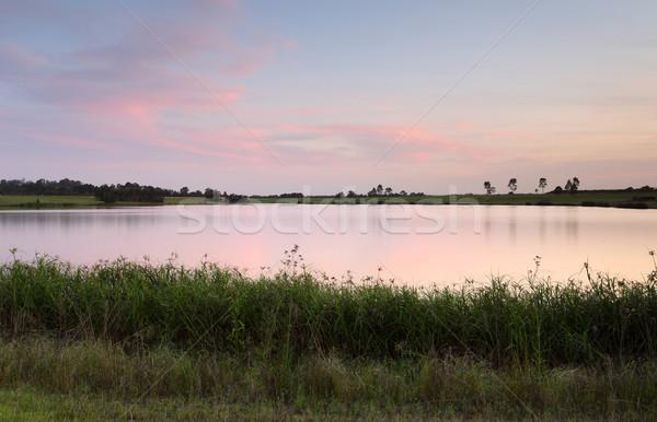Sunset Duralia Lake Penrith Australia Stock photo © lovleah