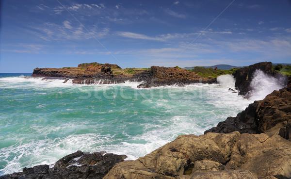 Ocean Swell Bombo Headlands Kiama Stock photo © lovleah
