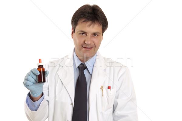 Orvos állatorvos gyógyszer tart mutat promótál Stock fotó © lovleah
