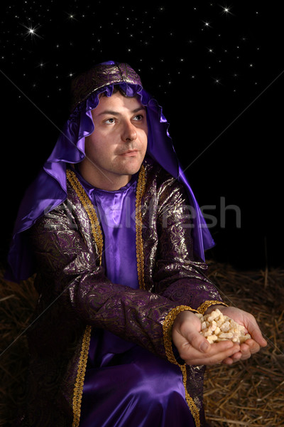 Wiseman bearing gift of frankincense Stock photo © lovleah