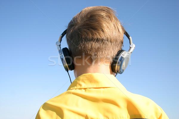 расслабиться музыку наушники ребенка мальчика Сток-фото © lovleah