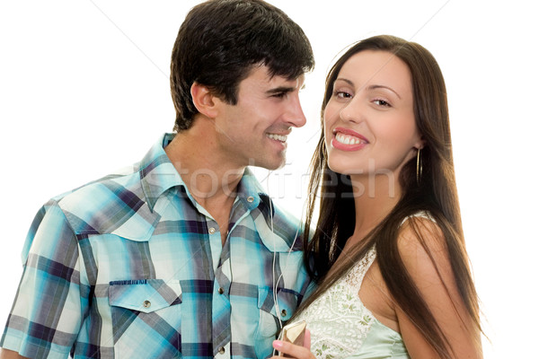 счастливым пару улыбаясь весело гетеросексуальные пары Сток-фото © lovleah