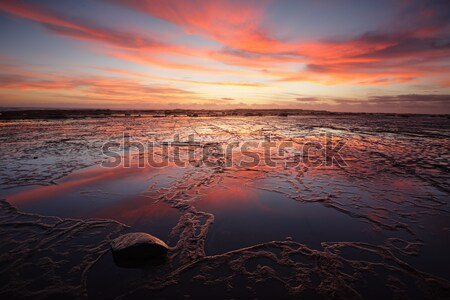 Red sunrise blankets Pearl Beach Australia Stock photo © lovleah