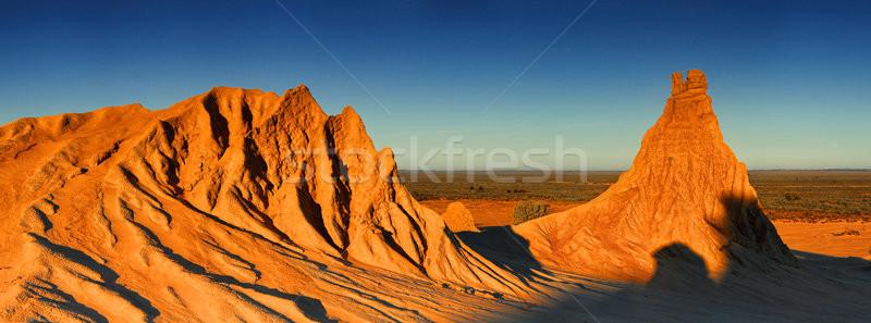 Woestijn landschap Australië laat namiddag winter Stockfoto © lovleah