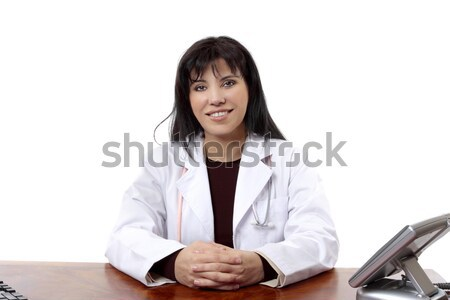 Mosolyog orvos barátságos iroda telefon munka Stock fotó © lovleah