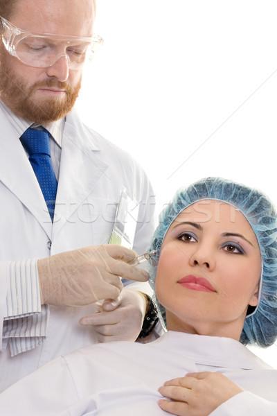 Botox injectie botox meisje gezicht arts vrouwen Stockfoto © lovleah