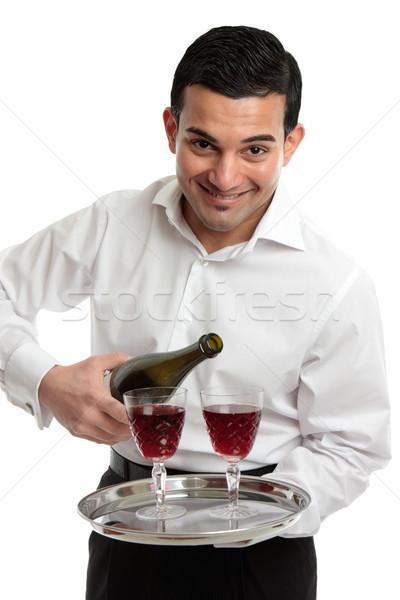 Mosolyog szolgáló pincér bor barátságos vendégszeretet Stock fotó © lovleah