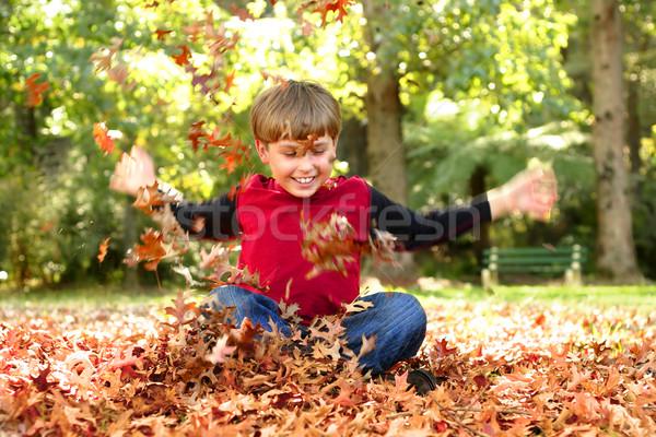 Kind spelen bladeren lachend zichtbaar Stockfoto © lovleah
