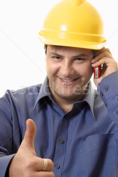 Dobre pracy uśmiechnięty pracownik budowlany budowniczy Zdjęcia stock © lovleah