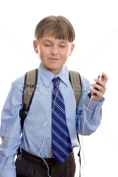 Criança music player estudante ouvir música portátil Foto stock © lovleah