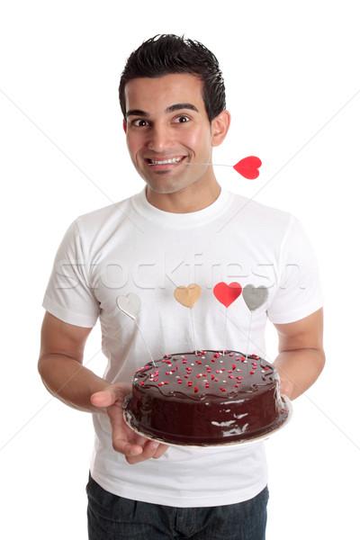 Stockfoto: Valentijn · leuk · mannelijke · chocolade · hart · cake