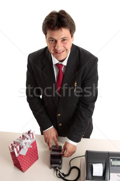 Stockfoto: Man · christmas · aanwezig · creditcard · pak · kopen