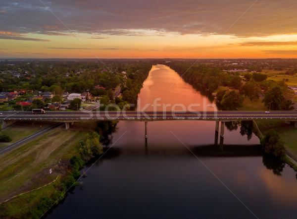 Folyó gyönyörű napfelkelte reggel késő nyár Stock fotó © lovleah