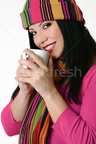 Bastante sorrindo caneca de café belo Foto stock © lovleah