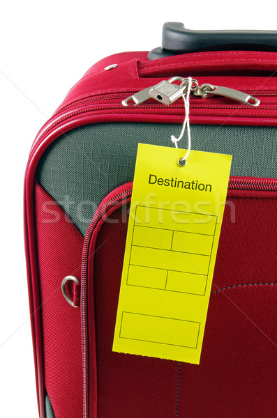 destination label with red travel bag Stock photo © luapvision