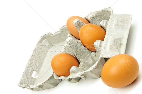 open egg box and eggs Stock photo © luapvision