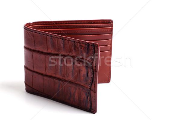 Krokodil cilt deri cüzdan kahverengi beyaz Stok fotoğraf © luapvision