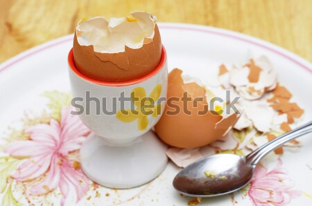 eaten boiled egg and spoon Stock photo © luapvision