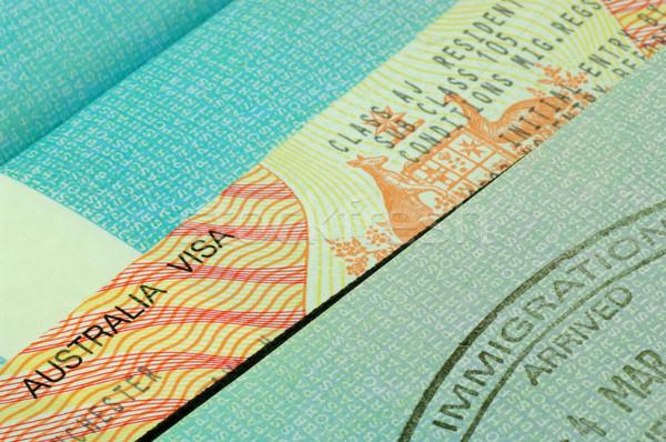 Stock fotó: Ausztrál · VISA · bevándorlás · bélyeg · útlevél · kék