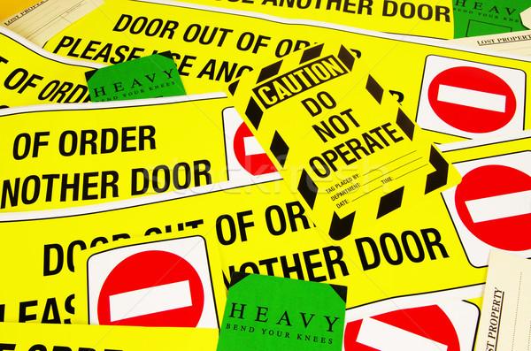 Uyarı işaretleri etiketler sağlık imzalamak Stok fotoğraf © luapvision