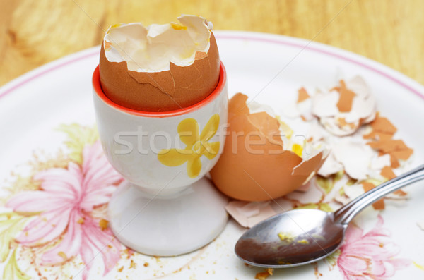 boiled egg shells and egg cup Stock photo © luapvision