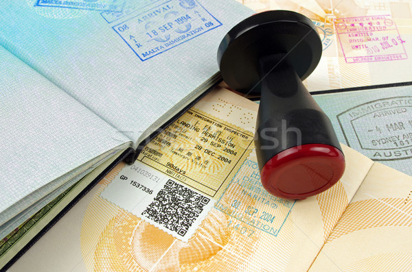 passport immigration stamps and rubber stamp Stock photo © luapvision