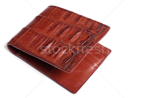 Kahverengi krokodil deri cüzdan beyaz arka plan Stok fotoğraf © luapvision
