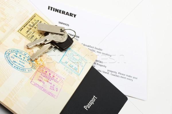 Tatil seyahat belgeler pasaport araba anahtarları iş Stok fotoğraf © luapvision
