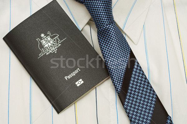 Pasaport gömlek kravat avustralya mavi Stok fotoğraf © luapvision