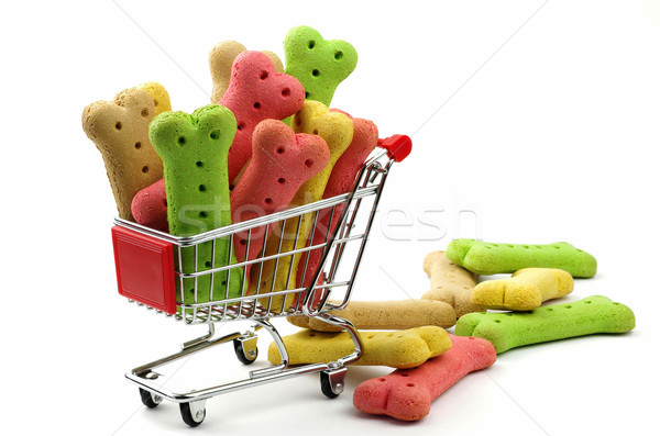 dog biscuits and shopping trolley Stock photo © luapvision