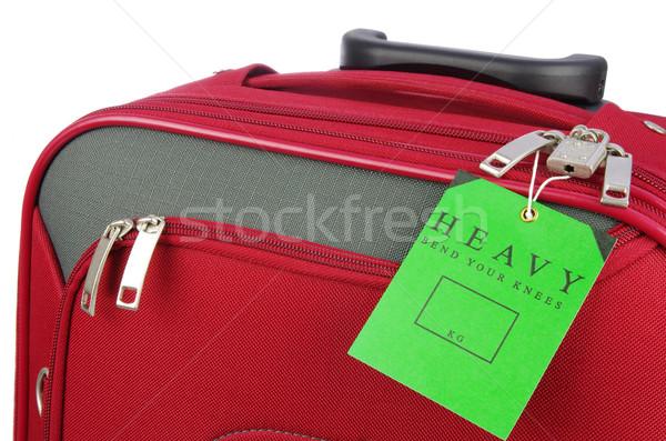 Yeşil uyarı etiket kırmızı seyahat çanta Stok fotoğraf © luapvision