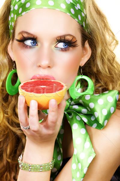 Blond beauty with grapefruit . Stock photo © lubavnel