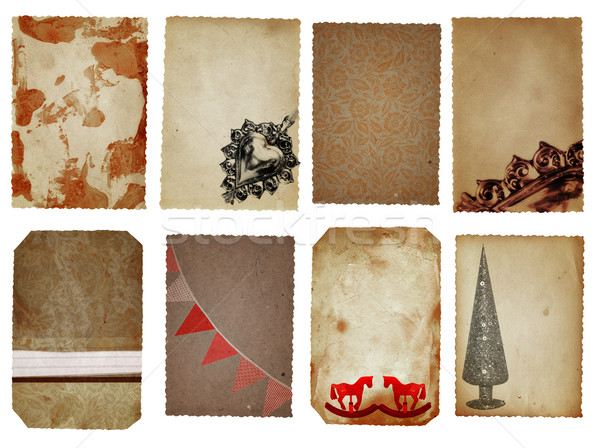 Noël cartes décoration brun rouge argent Photo stock © lubavnel
