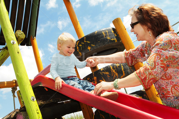grandmother and grandson on the playground Stock photo © lubavnel