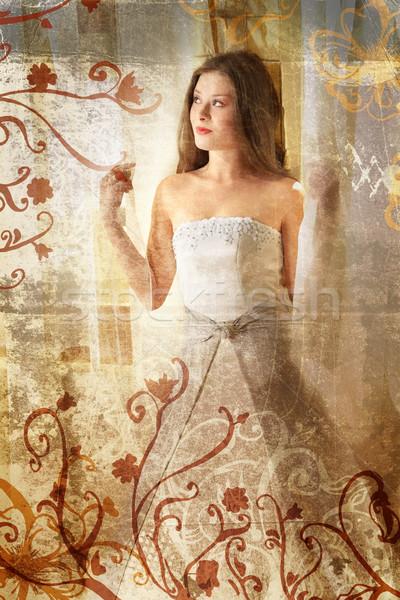 Grunge Beautiful bride Stock photo © lubavnel