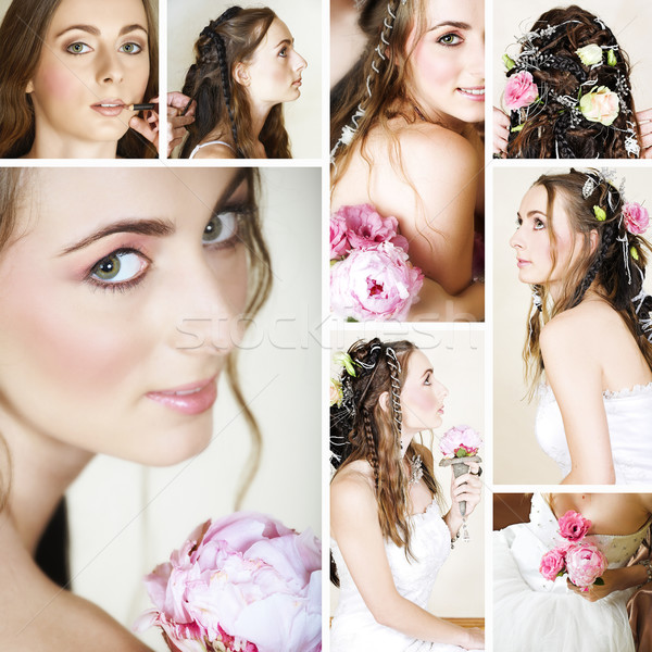 beautiful bride collage Stock photo © lubavnel