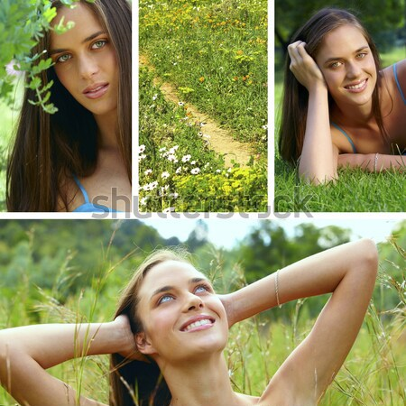 collage of a beautiful young brunette woman . Stock photo © lubavnel
