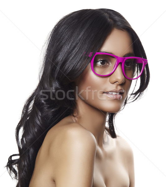pink glasses on beautiful tanned woman. Stock photo © lubavnel